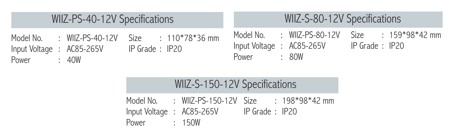 Wiiz DC Power Supply